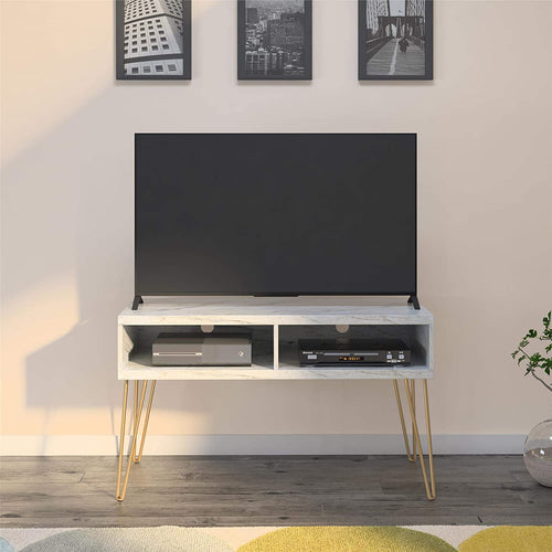 Hairpin Marble/Gold TV Stand, White