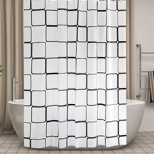 MOLECOLE Shower Curtain for Bathroom 72 x 72 inch Water Resistant Translucent with 12 Hooks - EK CHIC HOME