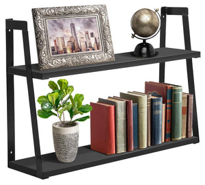 Sorbus 2-Tier Wooden Floating Shelf with Metal Brackets — Wall Mounted Rustic - EK CHIC HOME