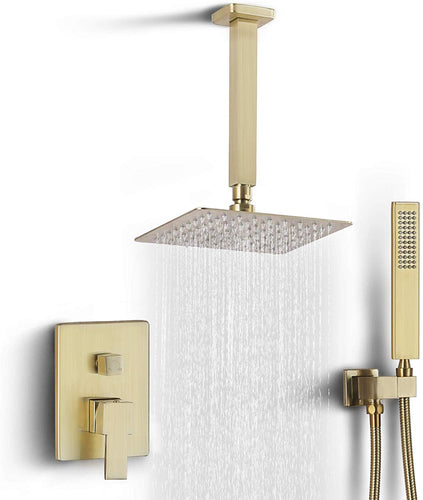 Ceiling Rain Shower Set with Handheld Shower Bathroom Shower Combo Set Luxury - EK CHIC HOME