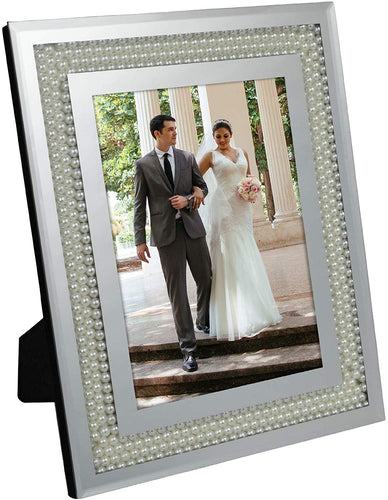 Glass Mirror Picture Photo Frame with Accent Pearl Border - EK CHIC HOME