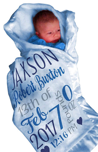 Personalized Baby Blankets for Boys (30x40, Blue Micro Plush Fleece Satin Edge Trim) - EK CHIC HOME