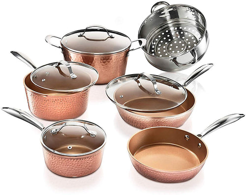 Steel Premium Hammered Cookware – 5 Piece Ceramic Cookware - EK CHIC HOME
