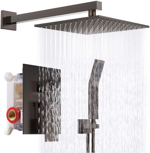 10 Inches Bathroom Luxury Rain Mixer Shower Combo Set Wall Mounted - EK CHIC HOME