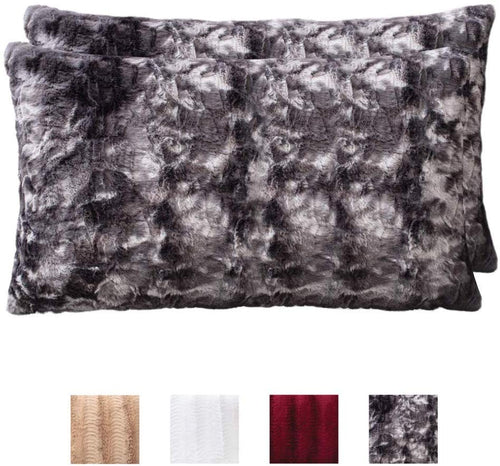 Faux Fur Pillowcases, Set of 2 Decorative Case Sets-12x20 - EK CHIC HOME