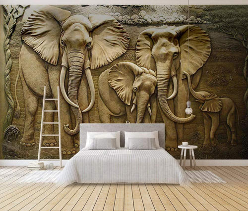 Wall Mural 3D Wallpaper Golden Minimalist Embossed Elephant Wall Decoration Art - EK CHIC HOME
