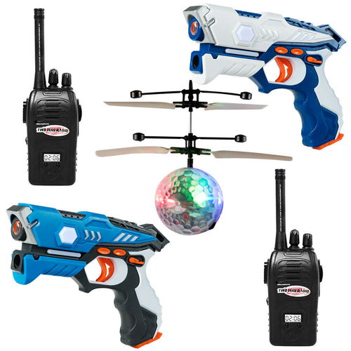 Infrared Laser Tag Guns 2 Players Blasters Game w/2 Walkie talkies & Flying ball