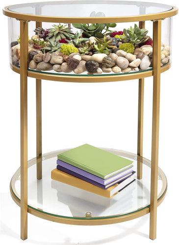 Display End Table with Reinforced Glass in Gold Iron