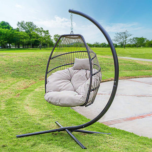 Luxury Wicker Hanging Chair - Swing Patio Egg Chair UV Resistant - EK CHIC HOME