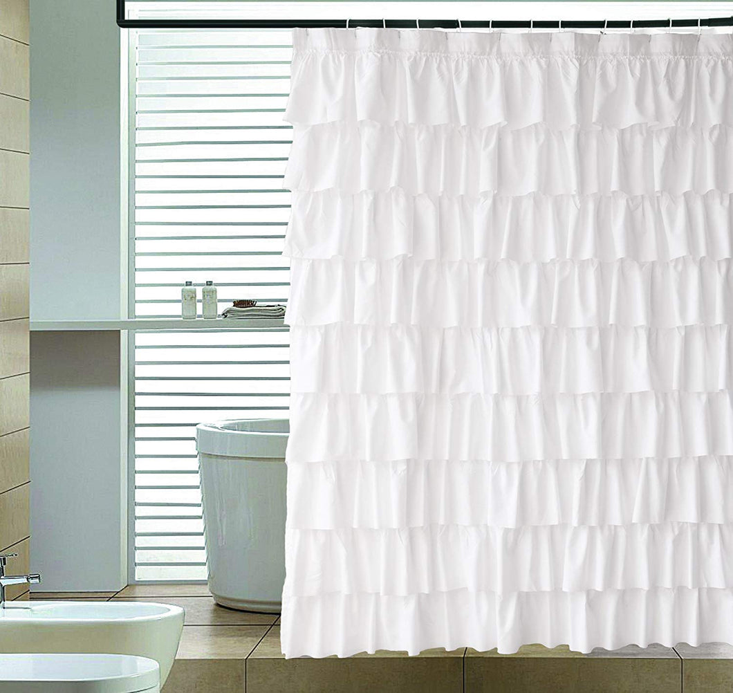 Ameritex Ruffle Shower Curtain Home Decor | Soft Polyester 72
