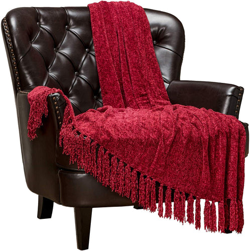 Chenille Velvety Texture Decorative Throw Blanket with Tassels (50x65) - EK CHIC HOME