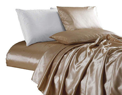 4-Piece Bridal Satin Solid Color Sheet Set - EK CHIC HOME