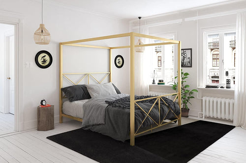 LUXE Canopy Bed, Gold