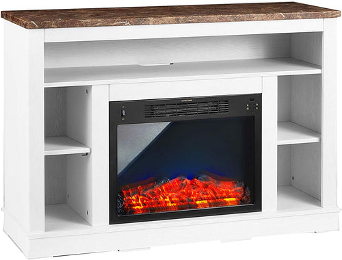 47 In. Electric Fireplace with a Multi-Color LED Insert and White Mantel - EK CHIC HOME