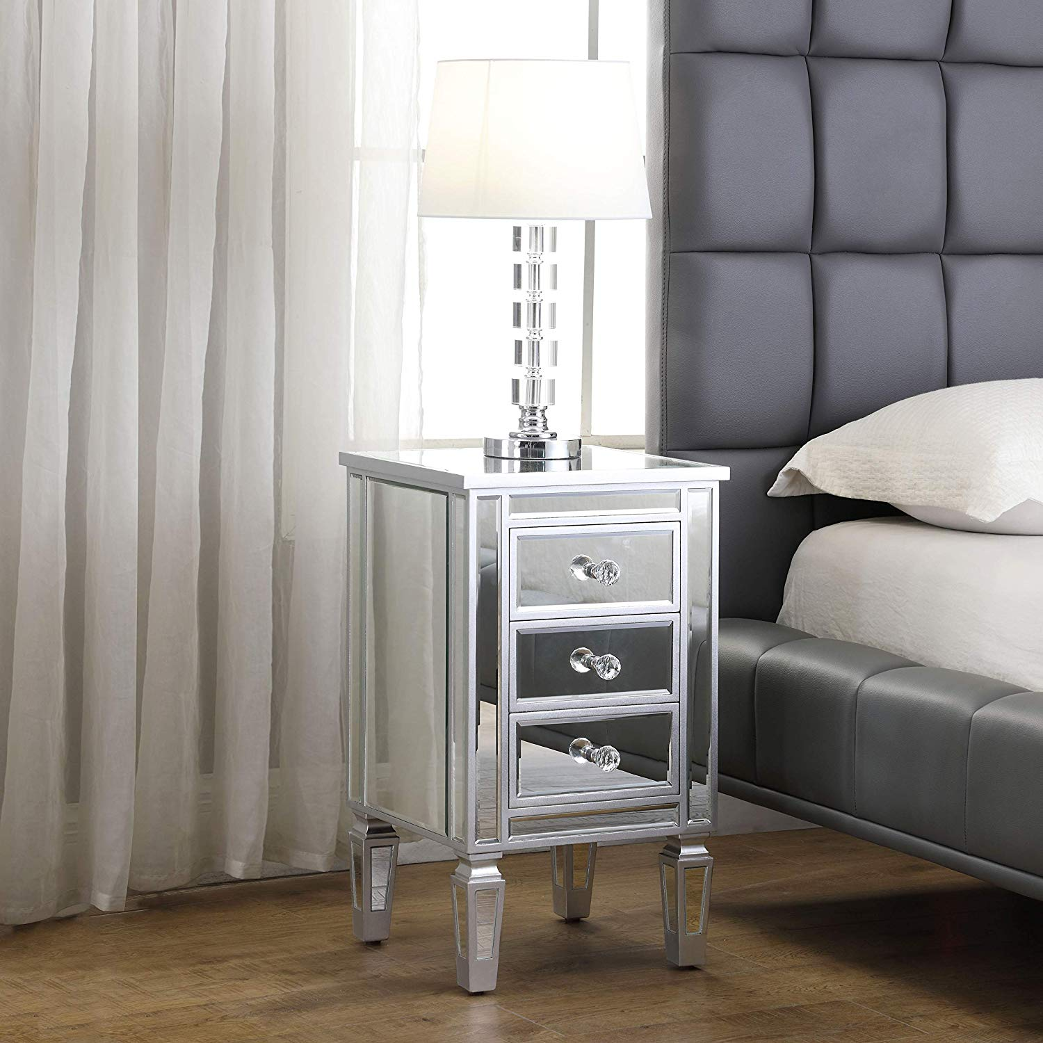 3 Drawer Mirrored End Table Mirrored Nightstand Glass