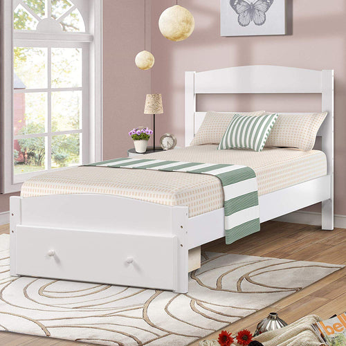 Wood Platform Bed Frame with Headboard and Storage Twin, - EK CHIC HOME