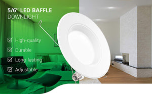 12 Pack 5/6 Inch LED Recessed Downlight - EK CHIC HOME