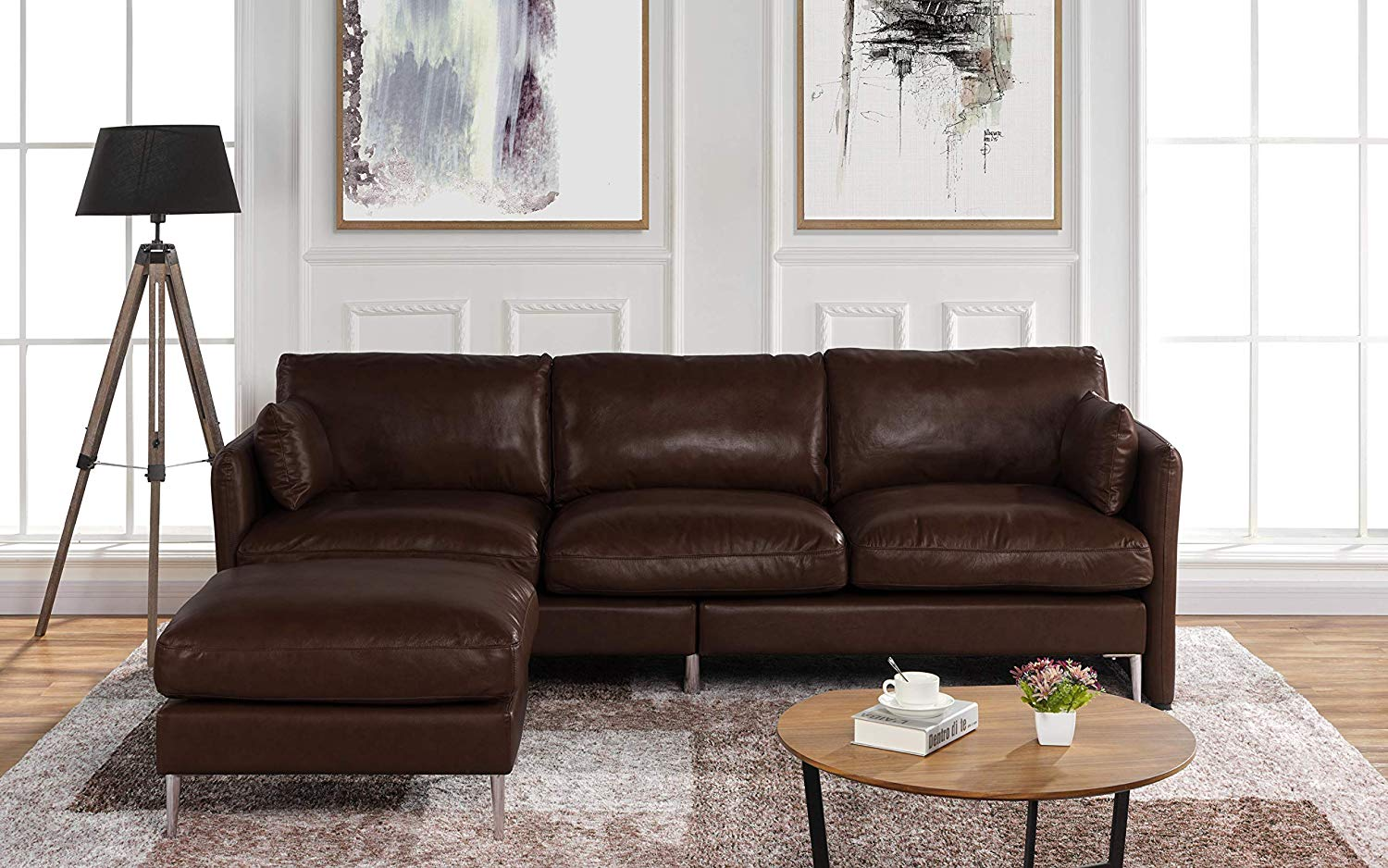 Modern Leather Sectional Sofa L Shape Couch 93 7 W Ek Chic Home