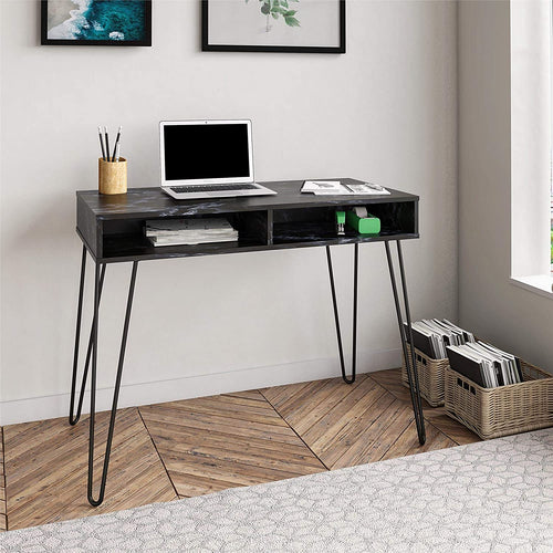 Hairpin Computer Storage, Black Marble Desk