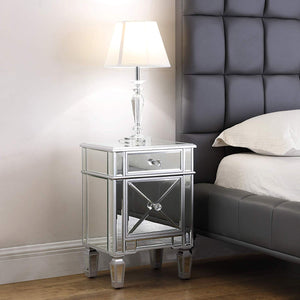 3-Drawer Mirrored End Table - Mirrored Nightstand Glass Bedside Table, Antique Gold - EK CHIC HOME