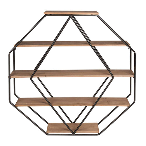 Wood Octagon Floating Wall Shelves - EK CHIC HOME