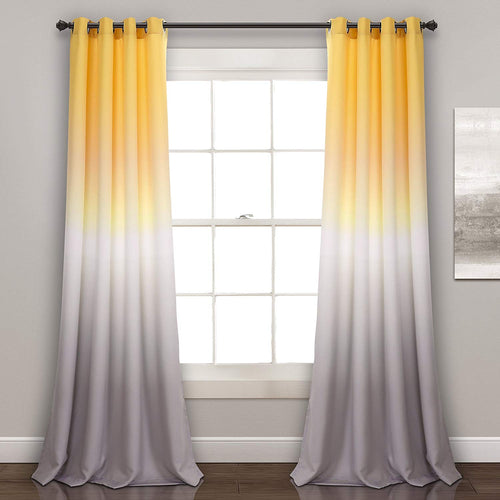 "Lush Decor Ombre Fiesta Curtains Room Darkening Window Panel Set for Living, Dining, Bedroom (Pair), 84"" x 52"", Yellow and Gray - EK CHIC HOME"