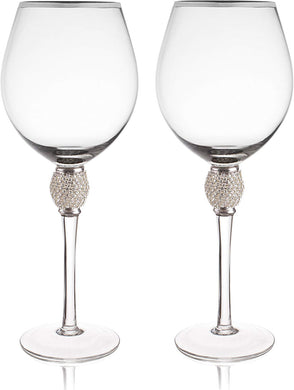 Set of 2 Wine Glasses - Rhinestone