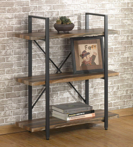 Furniture 2-Tier Rustic Wood and Metal Bookshelves, Industrial Style Bookcases Furniture - EK CHIC HOME