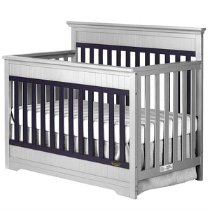 Chesapeake 5-In-1 Convertible Crib, Platinum and Navy - EK CHIC HOME