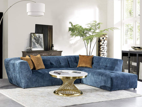 Luxury Mid-Century Tufted Low Back Right Facing Sectional Sofa L-Shape Couch, Navy blue - EK CHIC HOME