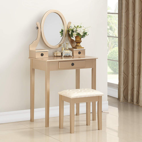 Makeup Vanity Table and Stool Set, Gold - EK CHIC HOME