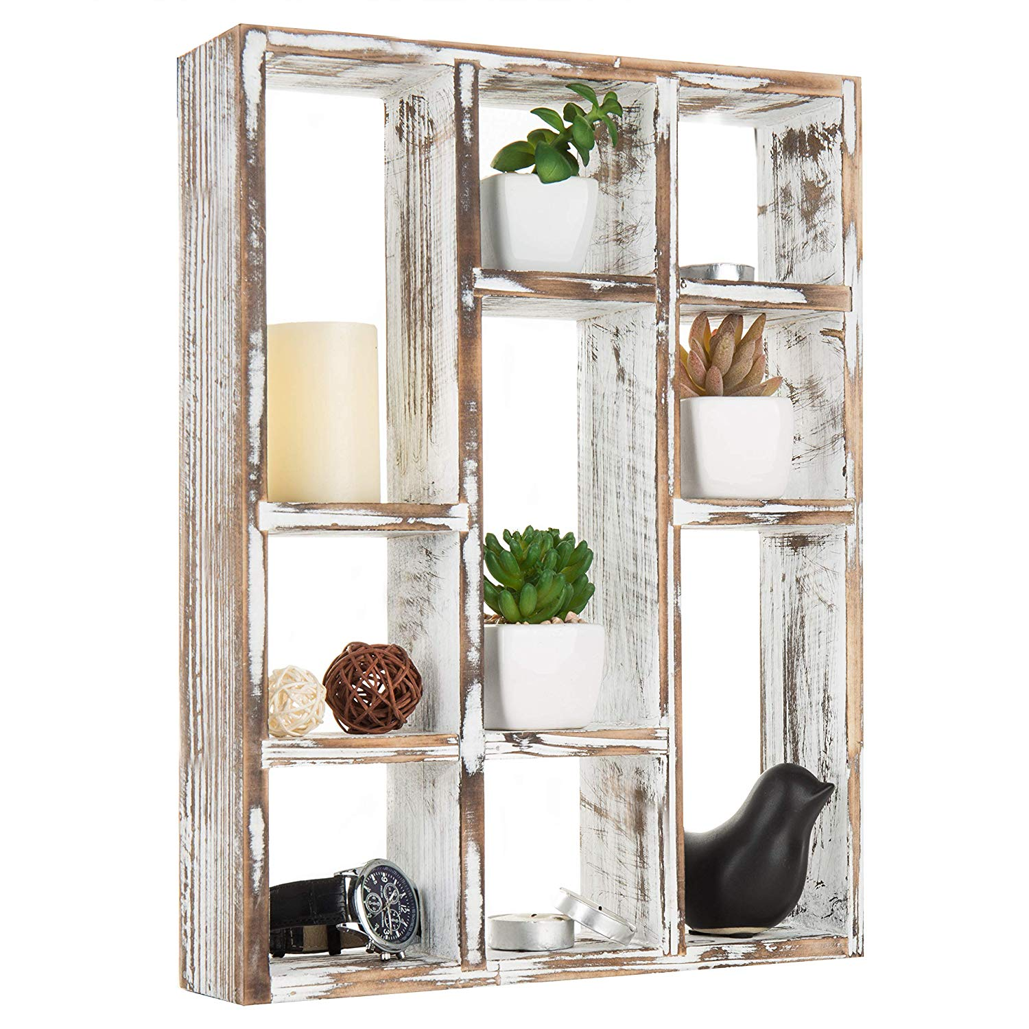 Awe Inspiring 15 Inch 9 Compartment Rustic Wooden Freestanding Wall Mountable Shadow Box Display Shelf Home Interior And Landscaping Oversignezvosmurscom