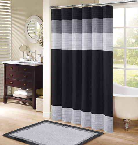 Windsor Bathroom Shower Pieced Ruffle Pattern Modern Elegant Microfiber Fabric Bath Curtains - EK CHIC HOME