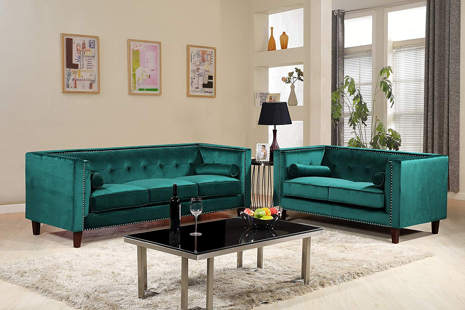 Pleasant 2Pc Kitts Velvet Upholstered Modern Chesterfield Sofa Set 78 Sofa And Loveseat Green Alphanode Cool Chair Designs And Ideas Alphanodeonline