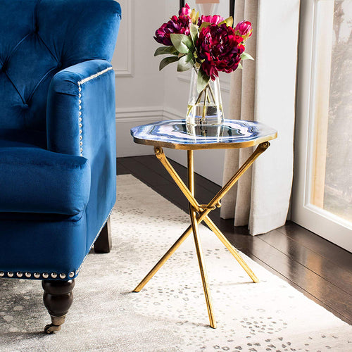 SBlue and Gold Faux Agate Side Accent Table - EK CHIC HOME