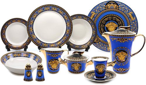 Vintage 49-pc Dinnerware Set 'Blue Medusa', Premium Bone China - EK CHIC HOME