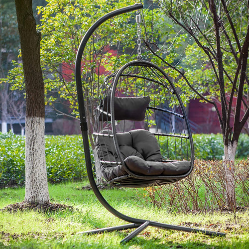 Rattan Hanging Swing Egg Chair,Hammock Chair, Aluminum Frame and UV Resistant Cushion