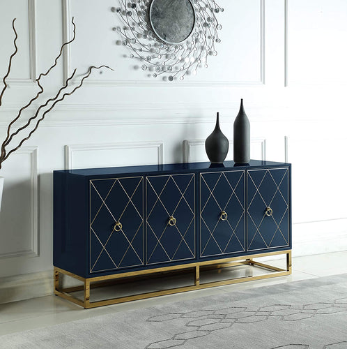 High Gloss Lacquer Sideboard/Buffet, Navy Blue