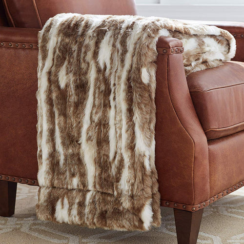 Marble Faux Fur Throw Blanket, Soft and Luxurious, 80