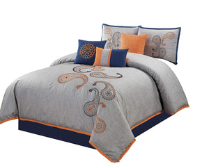 Naomi 7-Piece Navy Orange Paisley Floral Embroidery Comforter Bedding Set - EK CHIC HOME