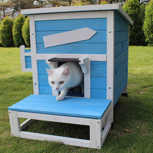 Outdoor Cat Shelter with Escape Door Rainproof Outside Kitty House - EK CHIC HOME