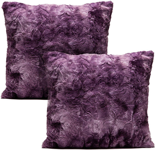 Super Soft Fuzzy Faux Fur Throw Pillow Cover 18x18 Inches 2-Pack - EK CHIC HOME