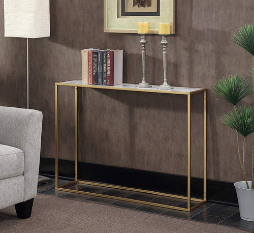 Convenience Gold Coast Faux Marble Console Table - EK CHIC HOME