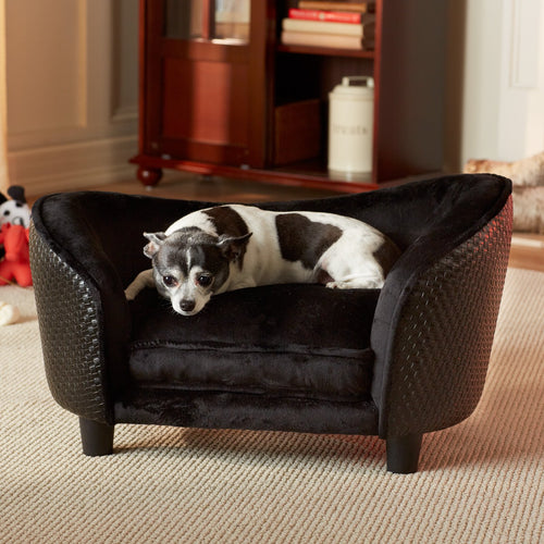 Pet Ultra Plush Snuggle Bed - Black Basket-weave - EK CHIC HOME