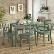 Load image into Gallery viewer, Vintage Dining Set with 6 Window Back Chairs - EK CHIC HOME