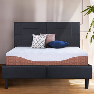 Faux Leather Platform Bed Frame - EK CHIC HOME