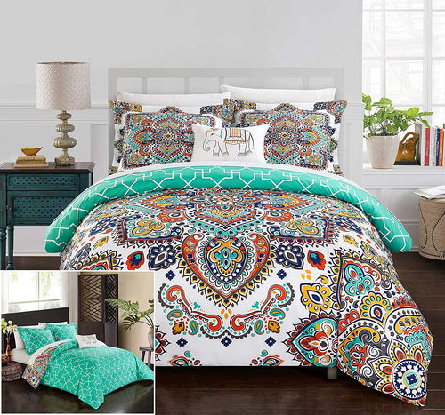 Chic 8 Piece Reversible Boho Contemporary Geometric Patterned Queen Bed in a Bag Comforter Set - EK CHIC HOME
