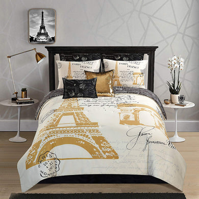 Casa Paris Gold 8 Piece Comforter Set Queen - EK CHIC HOME