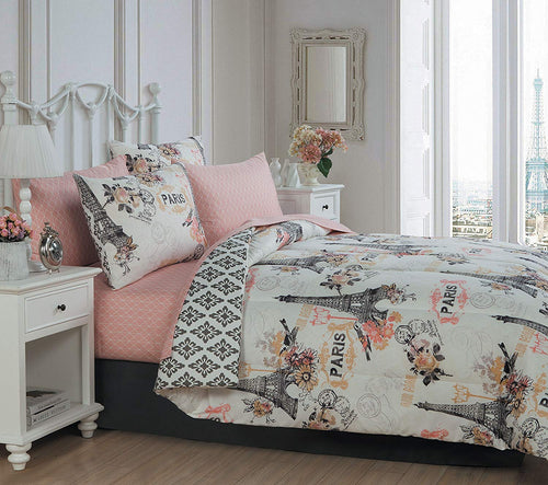 PARIS 8-piece Cherie Comforter Set Queen, Coral - EK CHIC HOME