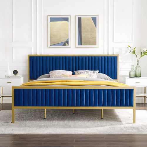 NAVY/GOLD Tufted Upholstered Low Profile Bed